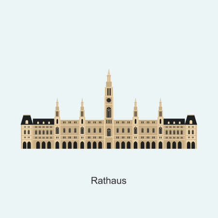 Austria, Vienna City flat travel skyline of Rathaus. The famous and largest city in Europe. Flat architecture of Austria landmark travel collection. Travel guide theme. Vector design illustration Ilustracja