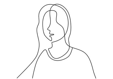 Continuous line drawing of standing feminine woman with long hair. Young pretty girl is posing candid wearing a cardigan. Isolated female in fashion minimalism art design. Vector illustration