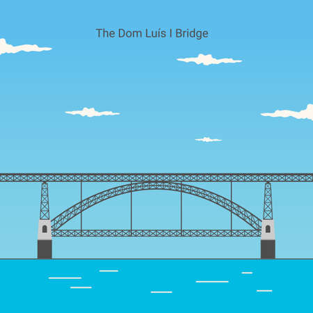 Dom Luís I Bridge in Opporto (Porto) Portugal is an icon of the city of Porto. famous building for vacation destinations The landmark Portugal travel guide concept. Vector illustration