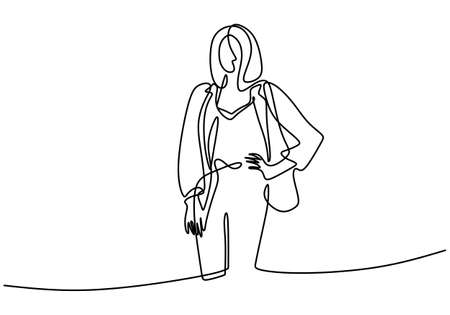 Continuous one line drawing of pretty woman wearing blazer. Young beautiful lady with blazer or outer look very elegant. Two in one cardigan and blouse. Vector minimalistic style illustration