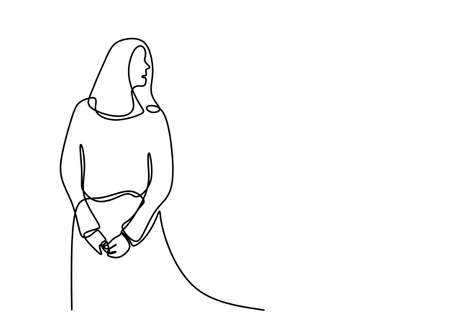 Continuous line drawing of standing feminine woman with holding her hand. Young pretty girl is posing candid wearing a cardigan. Isolated female in fashion minimalism art design. Vector illustration