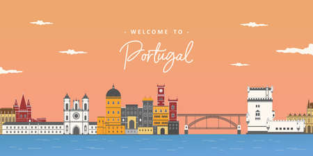 Aerial beautiful view in Portugal. Stylish colorful landmarks. Alcobaca Monastery, Pena palace, Dom Luís I Bridge and Belem Tower. It is good for travel destination. Journey around the world