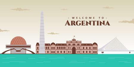 Aerial view of Buenos Aires city, Argentina and famous landmark. Beautiful panorama of El Obelisco, Puente de la Mujer, Planetario Galileo Galilei, Plaza de Mayo. Tourist travel destination