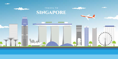 Singapore city skyline. Buildings, streets, silhouette, architecture, landscape, panorama, landmarks. Editable strokes. Flat design line vector illustration concept. Isolated on white background.