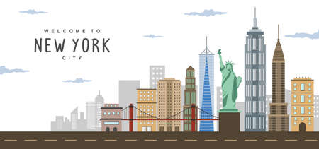 New York City Tour Cityscape vector Illustration
