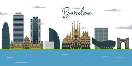 Barcelona city skyline. Buildings, streets, architecture, landscape, panorama, landmarks. Editable strokes. Flat design line vector illustration concept. Isolated icons on white background