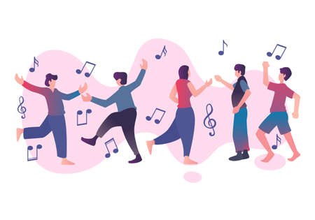 Flat element of dancing people with music note. Flat element of man and woman being dance. Flat element of people isolated on white background. Çizim