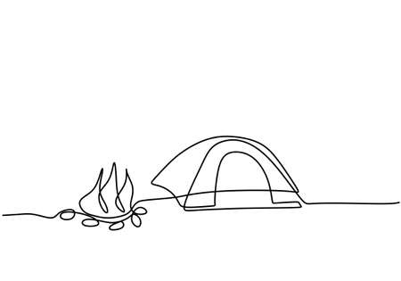Continuous single line drawing of a lonely tent in mountains with campfire isolated on white background. Car caravan, travel trailer, camper,camper trailer concept. Minimalist style. Vector