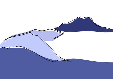Mountain landscape continuous one line vector drawing. Beautiful view with mountains and fresh air. Nature, rock panoramic sketch. Holiday vacation concept isolated on white background