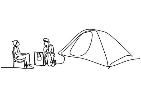 Man in camping tent continuous single line hand drawn. Two young male take a break in the mountains and sit enjoying the beautiful natural scenery isolated on white background minimalist design