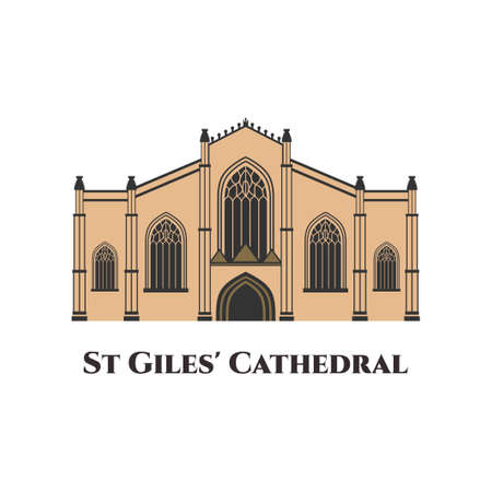 St. Giles Cathedral in Edinburgh flat vector design. The High Kirk of Edinburgh positioned at the heart of the Scottish capital. Great place to view some real history with amazing vaulted ceilings
