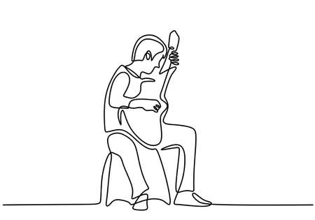 Single line drawing of young happy man playing guitar in campfire. A man who was camping was performing with a guitar on a campfire isolated on white background. Camping for vacation concept