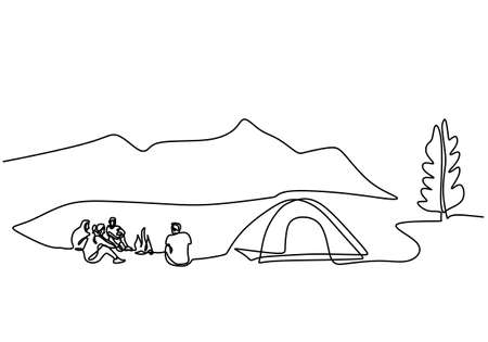 One line drawing of happy young man and women enjoy with their holiday in outdoor activity with tents. Nature lovers. Teenager girl and boy doing picnic with a tent in outdoor. Vector illustration Ilustrace