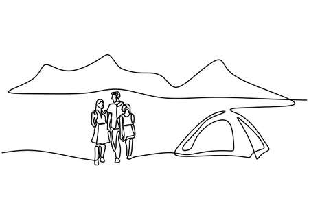 One line drawing of family camping. Happy father, mother, daughter, and son doing picnic with a tent in outdoor. Spend vacation time camping. Holiday in nature. Minimalism style. Vector illustration