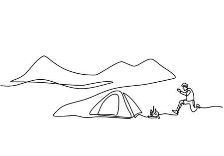 One line drawing people camping. Young man enjoy outdoor activity with tents and campfire. Adventure camping and exploration. Happy male excited by camping in the mountains enjoying nature Ilustrace