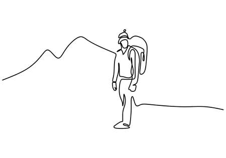 Continuous line drawing of climber on mountain. A backpacker man takes a vacation to the hill to camp. Character male in climber concept. Vector illustration isolated on white background