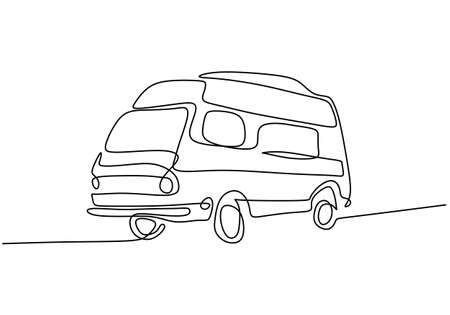 Camper continuous line drawing. A camping car for traveling isolated on white background. The concept of moving in a motorhome, family camping, camping, caravan. vector illustration Ilustrace