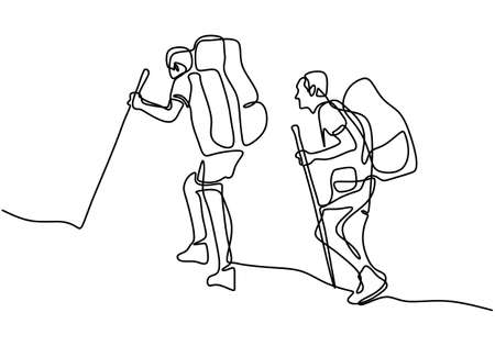 Continuous one line drawing of tourist hiking backpack picnic mountains. Two guys were climbing the mountain for holiday. Explore the beauty of nature for refreshing. Nature lovers theme