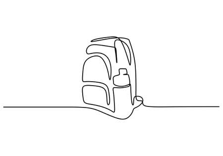 One continuous line drawing of backpack for travelers and tourists. A rucksack for traveler, backpacker, climber or camper. A simple bag isolated on white background. Vector illustration