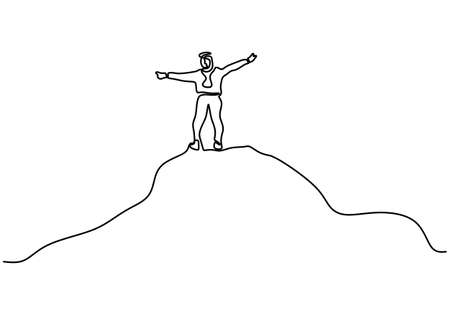 One line drawing of man on the top of the mountains. A happy energetic male on top of a mountain enjoying the natural beauty and fresh air. The view above the clouds isolated on white background