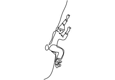 Continuous one line drawing of man doing climbing. Energetic young male practices rock climbing the rope for safety isolated on white background. Character a guy in rock climbing. Ilustrace