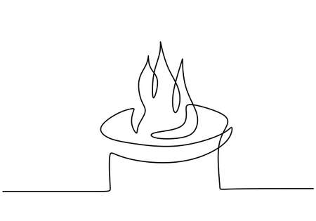 Bonfire in one line art drawing style. Continuous single line hand drawn of campfire isolated on white background. Camping theme minimalist style. Vector sketch illustration