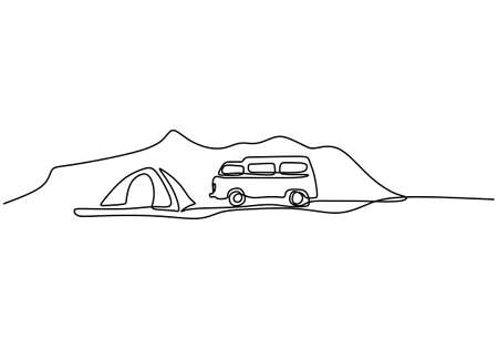 Camper continuous line drawing. A camping car and tent in mountains isolated on white background. The concept of moving in a motorhome, family camping, camping, caravan. vector illustration