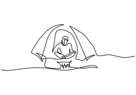 One continuous line drawing of a man in tent. Happy young male cooking on portable stove isolated on white background. Enjoying life in mountains, hiking and camping concept. Vector illustration
