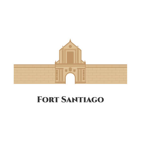 Fort Santiago flat cartoon design isolated on white background. Interesting place for historical tours. It is a must-see for everyone visiting Manila. Vector, travel, landmark, culture