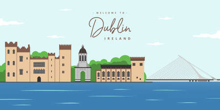 Panorama of the city of Dublin, Ireland with great famous landmark. Beautiful world of world countries and you must see it. The most famous tourist destinations. Travel and trip vacancy. Çizim