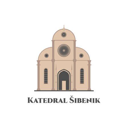 Cathedral of St. James in Sibenik, Croatia. Katedrala sv Jakova, the cathedral is a real highlight of Sibenik. Travel destination. Religious architecture. Flat style vector illustration