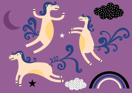 Vector illustration of sweet but strong unicorn on a purple background seamless pattern. Good for kids, baby apparel, fabric, textile, wallpaper, bedding, rainbow, cloud, sky, moon  イラスト・ベクター素材