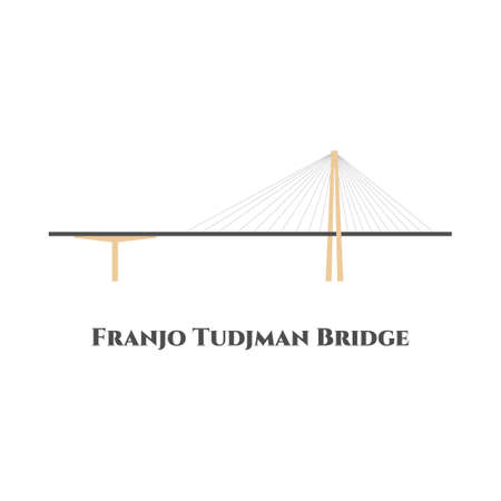 Franjo Tudjman bridge in Dubrovnik, Croatia. Great location, beautiful views of the bay. Recommend everyone to visit it, because it was beautiful experience. Flat landmarks vector illustration