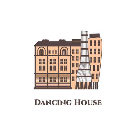 Dancing House in Prague, Czech Republic. Modern building and beautiful view isolated on white background. Flat vector design illustration. Recommended to visit this place