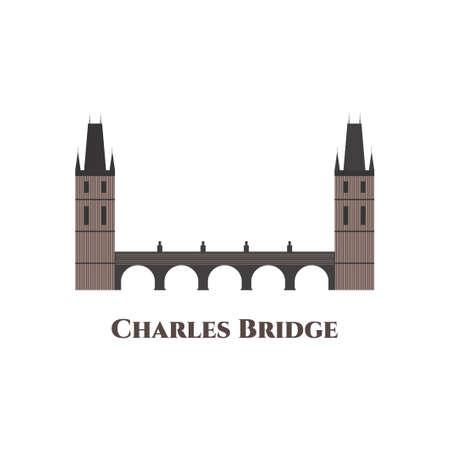 Prague Charles Bridge vector Illustration. A historic bridge that crosses the Vltava (Moldau) river in Prague, Czech Republic. One of the most beautiful places in the world definitely
