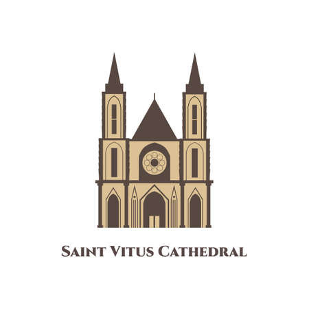 Saint Vitus Cathedral in Czech Republic. Prague travel and Voyage around Europe collection. A beautiful example of Gothic architecture. Great destination for holiday. Flat Art Vector illustration.