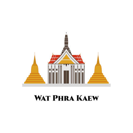 Wat Phra Kaew temple of the emerald buddha and beautiful architecture in Bangkok Travel and illustration. One of the most fantastically ornate Wats. Skyline City Background.