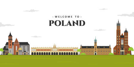 Panoramic view of Poland. City landscape in old town Poland with famous landmark building. Business travel vacation guide of goods, places and features