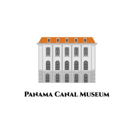 Panama Canal museum at Plaza de la Independencia. The visitor center has a very popular attraction. Vector illustrations in flat style. North America Travel Guide. Road trip tourist vacation