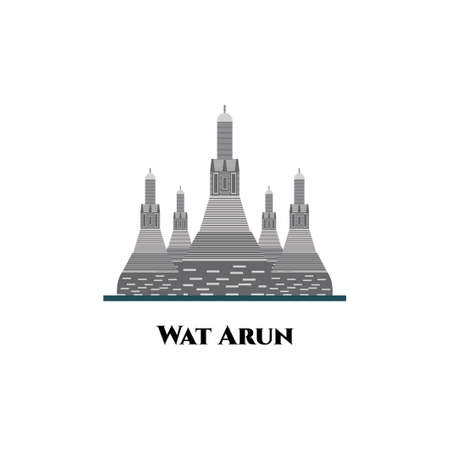 Wat Arun Thailand temple illustration vector. Amazing historical building must-see for anyone passing through Bangkok. Skyline City Background, Travel Attraction. Flat icon template design Ilustracja