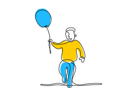 One single line drawing of a cute boy holding a balloon. Happy little child playing air balloon in the playground while jump hand drawn line art on white background. Vector illustration
