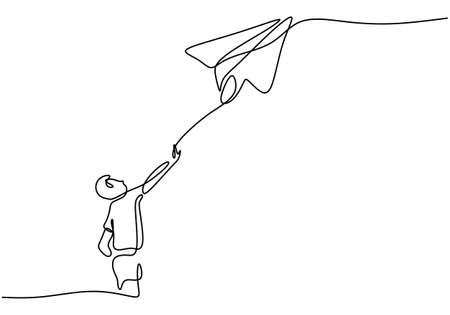 One continuous line drawing of the boy launches a plane. Little kid playing paper airplane into the sky at outdoor field isolated on white background. Freedom and passion creative minimalist concept