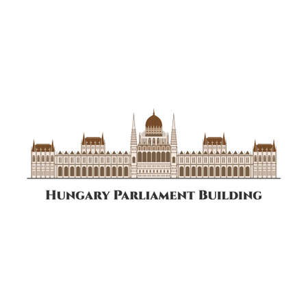 The Hungarian Parliament Building. Notable landmark of Hungary, and a popular tourist destination in Budapest. Amazing building. Flat design Budapest Parliament illustration vector Vektorové ilustrace