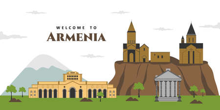 Aerial panorama view of Armenia city landscape travel sights, landmark buildings with Mt Ararat in the background. Beautiful scenery you must visit. The best destination for tourist vacation