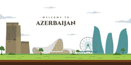 City landscape of Azerbaijan with famous building landmark. Welcoming to Azerbaijan. World vacation travel Asia Asian collection. Cartoon style web site vector illustration