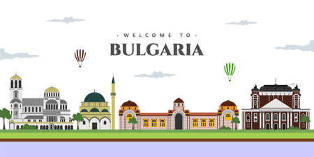 Great city landscape panorama view of Bulgaria with famous landmarks. Set vector illustration can be use for poster travel book, postcard, billboard. Business travel and tourist guide Иллюстрация