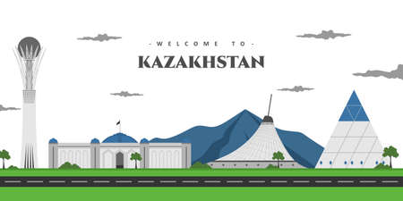 Building view with landmark of Astana is the capital city of Kazakhstan. Beautiful panorama landscape you must visit. World countries cities vacation travel sightseeing Asia collection.
