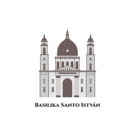 St. Stephen's Basilica or Basilika Santo István is a Roman Catholic basilica in Budapest, Hungary. Beautiful architecture building with stunning views. It is well worth to visit. Travel destination Иллюстрация