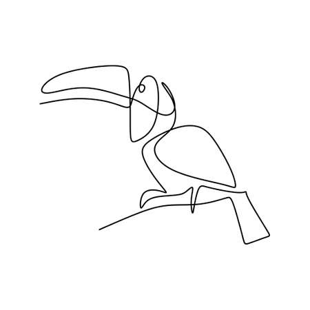 Single continuous line drawing of adorable toucan bird with big beak. Exotic animal mascot concept for national conservation park icon. Logo identity. Endangered animal. Vector design illustration