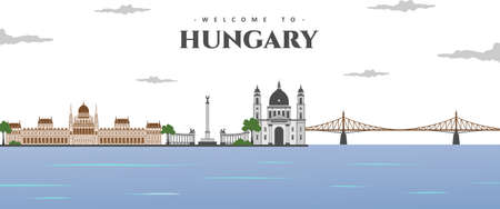 Panorama view of Budapest with greatest landmarks in the world collection abstract isolated vector illustration. Welcome in Hungary. Around in the world concept. Travel and Tourist attraction.